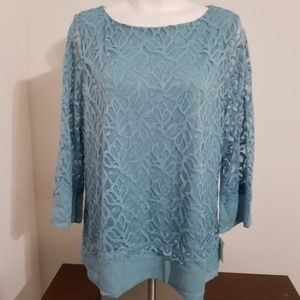 Charter Club blue lace tunic top nylon trim XXL